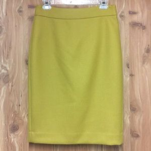 J crew no 2 double-serge wool mustard pencil skirt